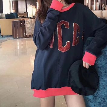 """Gucci"" Fashion Stitching Embroidery Logo Pattern Sequin Letter Loose Long Sleeve Sweater Women Casual Tops"