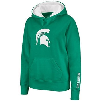 Michigan State Spartans Women's Green Twill Victory Lap Hooded Sweatshirt