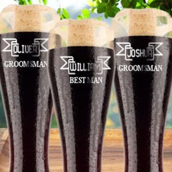 Groomsmen Gift~ Personalized Custom Engraved Pilsner Glass,Wedding Party Gifts, Beer Glasses, Gifts for Groomsmen, 16oz Glasses