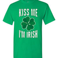 Funny St Patricks Day T-shirt Tshirt Tee Shirt Kiss Me Im Irish Gift xmas Party Drinking Clover St Paddys Day College Beer Booze Holiday