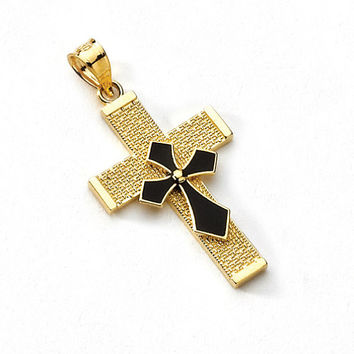 14K Yellow Gold Enamel Cross Pendant, Cross Pendant, Enamel Pendant, Cross Jewelry, Religious Pendant, Religious Jewelry, Gold Cross, Enamel
