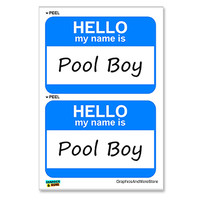 Pool Boy Hello My Name Is - Sheet of 2 Stickers