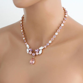 Rose gold necklace, Blush crystal, Bridal necklace, Bridal jewelry, Statement necklace, Crystal necklace, Wedding jewelry Swarovski necklace
