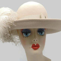 1930's Beige Excello Wool Ostrich Feather Plume Wide Brim Picture Hat Geo W Bollman For Kurt Jr By Tom Hann