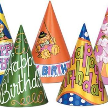 HAPPY BIRTHDAY CONE HATS- THROWBACK STYLE SET OF 5