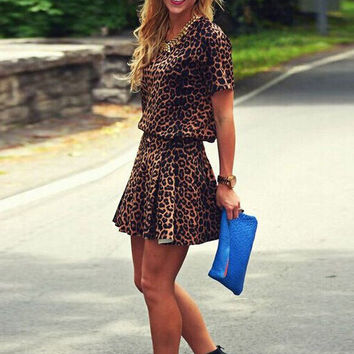 Leopard Print Mini Dress with Elastic Waist