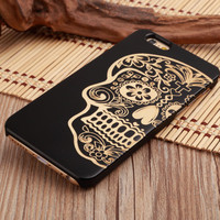 DOD Sugar Skull Mexican Ultra Thin 100% Natural Wood Phone Case For iPhone 7 7Plus 6 6s Plus 5 5s SE