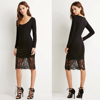 Stylish Round-neck Long Sleeve Mosaic Lace One Piece Dress [4917746692]