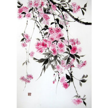 Japanese Ink Painting, Japanese art, Sumi-e, Suibokuga, Asian art,  Rice Paper painting, Pink Black, Large 18 x 26', Double cherry