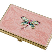 Visol Dragonfly Pink Lacquer Brass Women's Business Card Case