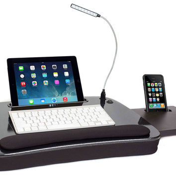 Sofia + Sam Multi Tasking Memory Foam Lap Desk with USB Light (Black Top) | Supports Laptops Up To 15 Inches Black Top '