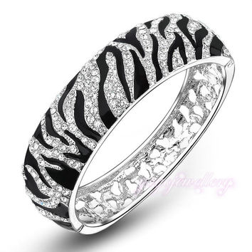 Mytys Black and White Leopard print Bracelet Bangle High Quality Crystal Pave setting Gold Plated B394