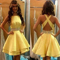 New Charming Yellow Elegant Cocktail Dresses 2016 Short Mini A-Line Beaded Sleeveless Off The Shoulder Stain Formal Party Gowns