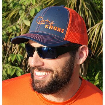 Signature Series Snapback Mesh Trucker Hat - Orange and Blue