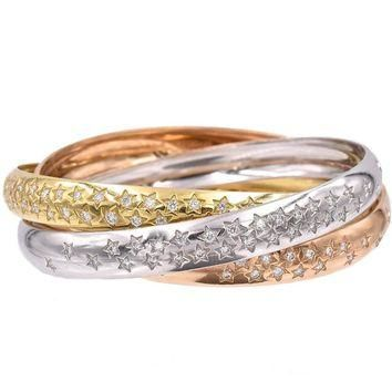 Cartier Trinity Three Color Gold Celestial Bangle Bracelet