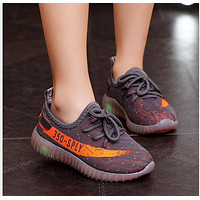 size 21-36 Children Sneakers Girls trainers Boys yeezy Shoes with light Mesh Kids Spor