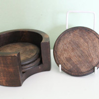 Set of 4 Vintage Old Wood Coasters in Wooden Holder, Primitive, Rustic Decor