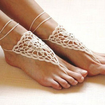 Fashion Handmade Knitting Hollow Out Lace Anklet Bracelet Crochet Barefoot Sandals Foot Great Gift