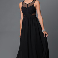 Side Sheer Cut-Out Illusion Back Prom Dress