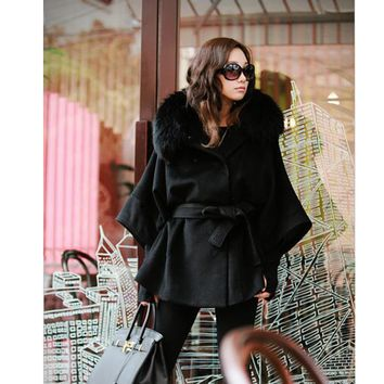 Winter Coat Women Wool Blend Luxury Double Breasted Bat Cape Poncho Women Coat Jacket Faux Fur Collar Hooded Black Plus Size