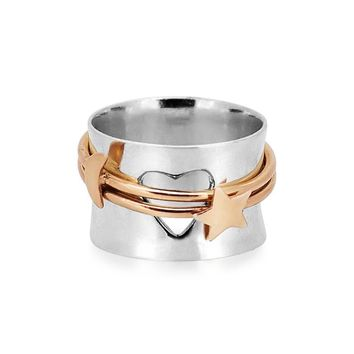 Moon+Star Spinner Ring