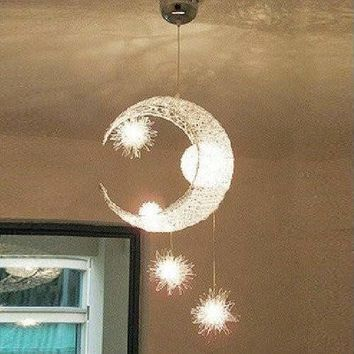 Free shipping,Bedroom Moon & Stars Modern Ceiling Light Lighting Lamp Chandelier