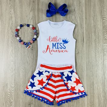 RTS Little Miss America Short Set With PomPoms D94