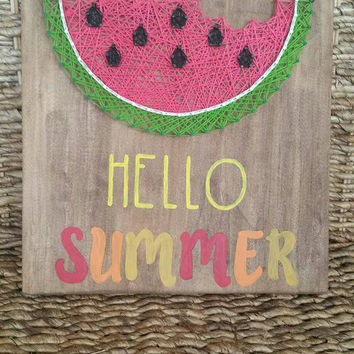 Hello Summer String Art Sign, Watermelon String Art Wall Hanging, Rustic Home Decor, Ready to Ship
