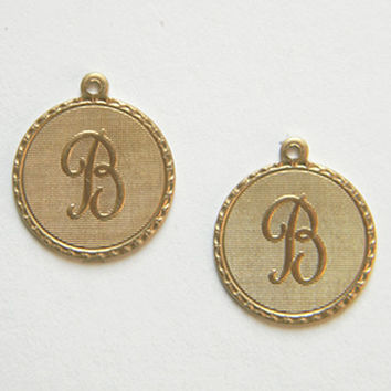 Raw Brass Letter B Charm Monogram Initial Drop 20m x 22mm - 4 pcs.(r257)