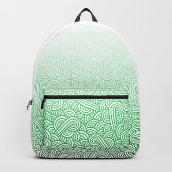 Gradient green and white swirls doodles Backpack by Savousepate