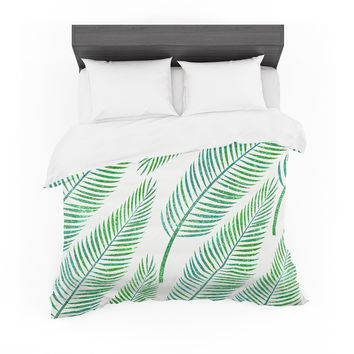 "83 Oranges ""Green Palm"" Teal Green Illustration Featherweight Duvet Cover"