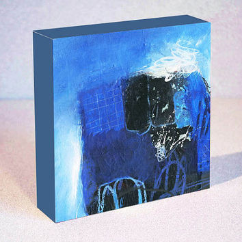 Modern Art Abstract Acrylic Print on Wood – Original Blue, White and Black Small Painting in 6x6, 8x8 or 10x10
