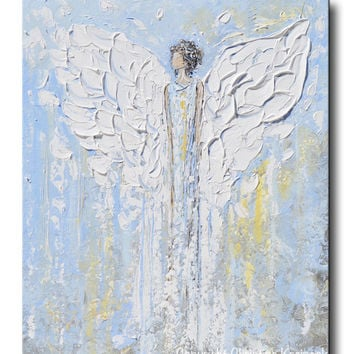 GICLEE PRINT Abstract Angel Painting Blue White Guardian Angel Inspirational Art Spiritual Wall Art
