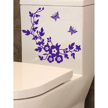 Flower & Butterfly Toilet Lid Sticker