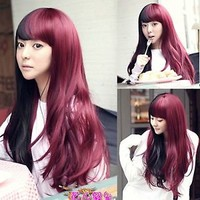 Sexy Black+Red Womens Slightly Curly Wavy Full Long Hair Wigs Cosplay Party Wig