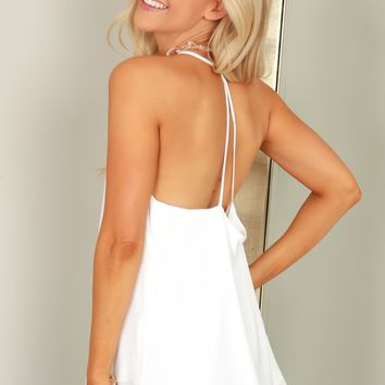 Strappy V-Neck Racerback Tank Top Off White