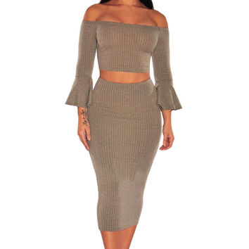 Ribbed Knit Bell Sleeves Two Piece Set
