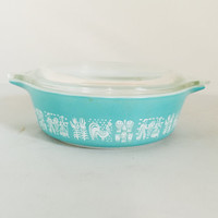 Vintage Small Pyrex Butterprint Casserole #471 Rare Promotional Retro Kitchen Teal and White 1 Pint Farmers Pattern Collectible  With Lid