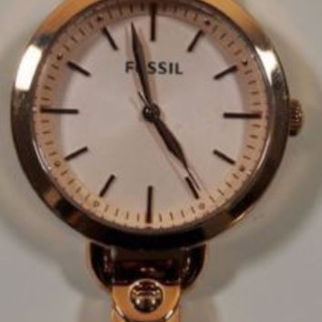 Fossil Womens Georgia Rose Gold Stainless Steel Watch BQ3026