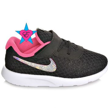 Infant Toddler Glitter Kicks | Black Pink Nike Tanjun