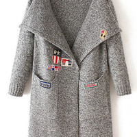 Grey Embroidered Pockets Knit Long Sleeve Sweater