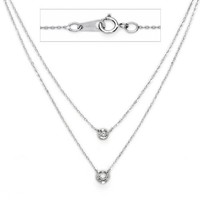 "14K White Gold Bezel Double Line Chain Diamond Necklace (0.09 CTW., G-H Color, SI1-2 Clarity) - 17"" Inches"