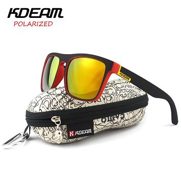 Polarized Sunglasses Men Sport Sun Glasses Metal Hinges HD Polaroid lens Square Frame With Hard case
