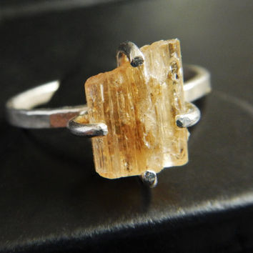 Yellow Topaz Crystal and Sterling Silver Ring - Topaz Ring - Yellow Stone Ring - Rough Topaz - Raw Crystal Ring - Gifts Under 50