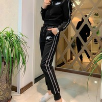 """Nike"" Women Casual Fashion Long Sleeve Zip Upright Neck Trousers Set Two-Piece Sportswear"