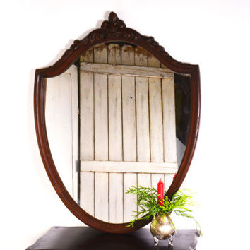 French Wall Mirror, Shield Mirror, Decorative Wood Mirror, Entry Way French Fleur-de-lis Mirror, Vintage Wooden Mirror, Shield Mirror