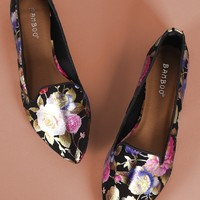 Point Toe Floral Loafer Flat