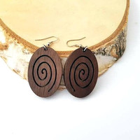 Walnut Earrings, Wooden Earrings, Stylish Earrings, Natural and eco friendly materials (Metal hooks without nickel for no alergic reactions)