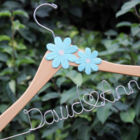 Wood Bridal hanger with coral flower, flower bridal hanger, flower hanger, hanger with flower, coral flower hanger, bride hanger
