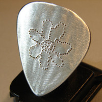 Aluminum Guitar Pick Handmade with Retro Flower by NiciLaskin